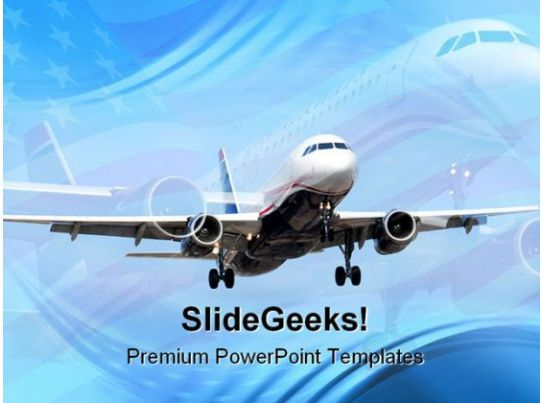 Americana Airplane Transportation Powerpoint Templates And