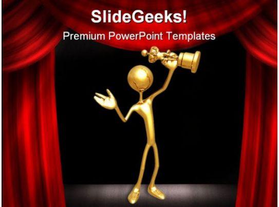 Award success entertainment powerpoint template 0910 for Award certificate template powerpoint