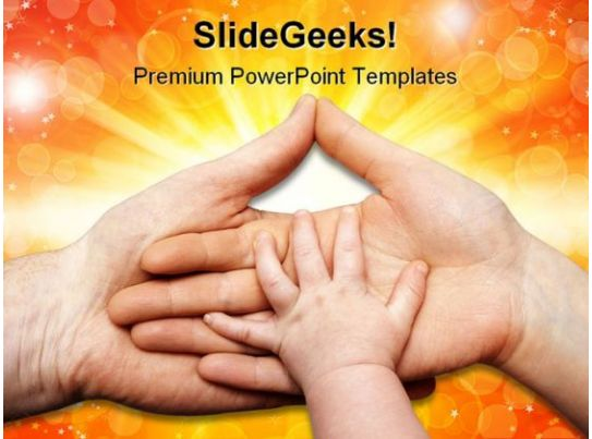 Baby Hand Holding Family Powerpoint Template 0810 Powerpoint