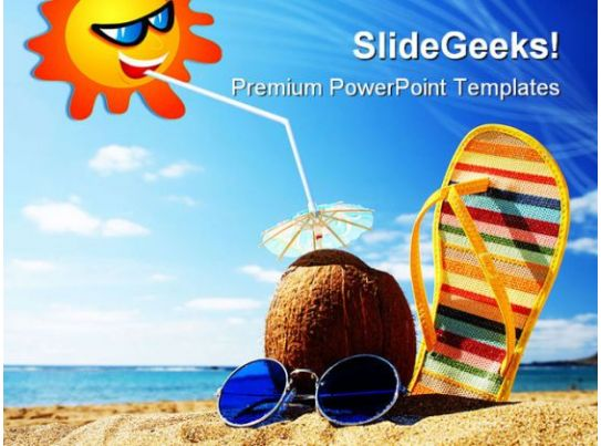 beach scene holidays powerpoint backgrounds and templates