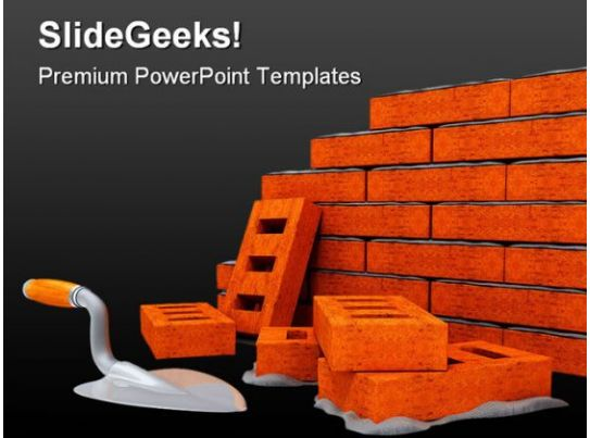 Brick Wall Construction Powerpoint Templates And Powerpoint Backgrounds Title