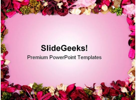 dried flowers frame background powerpoint templates and