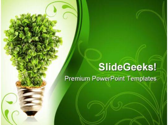 eco tree lightbulb environment powerpoint templates and powerpoint, Modern powerpoint