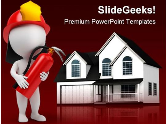 fire man and home realestate powerpoint backgrounds and templates 0111