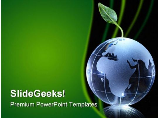 global warming earth powerpoint template 0910