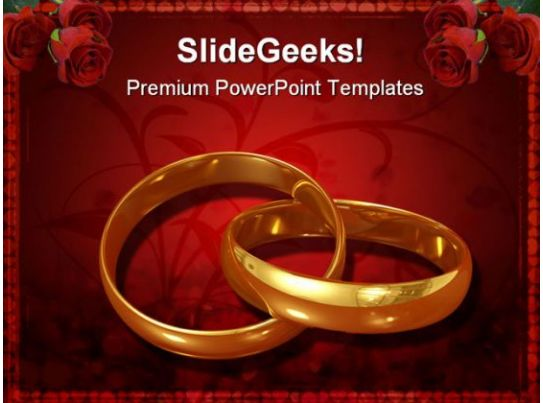 Golden Rings Wedding Powerpoint Template 0610 Ppt Images Gallery