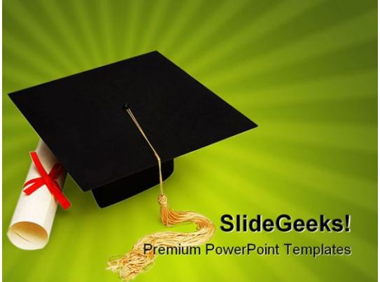 Graduation education powerpoint backgrounds and templates for Graduation mortar board template