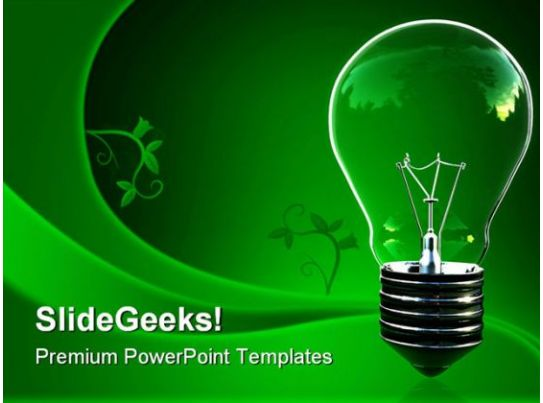 green light eco bulb environment powerpoint templates and