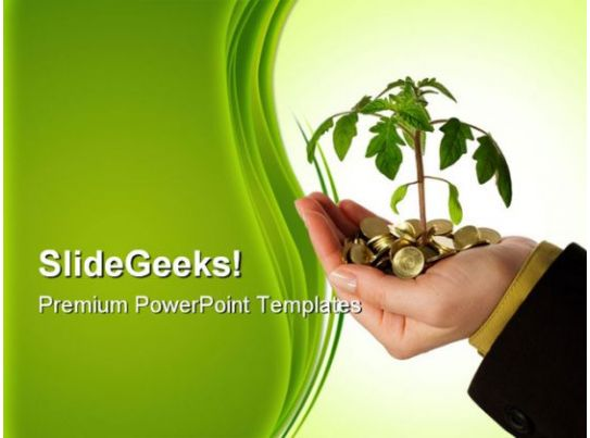 hand with money plant business powerpoint background and