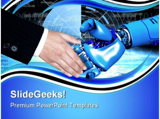 handshake with robot communication powerpoint templates and