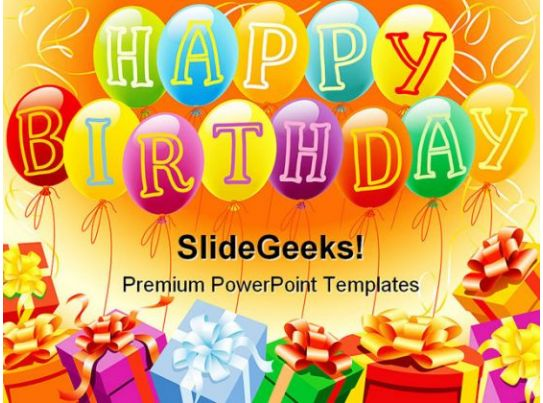 happy birthday and gifts entertainment powerpoint backgrounds and templates 0111 microsoft. Black Bedroom Furniture Sets. Home Design Ideas
