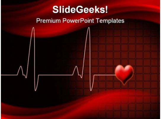 cardiovascular powerpoint template free - heart beat medical powerpoint template 0610 illustration