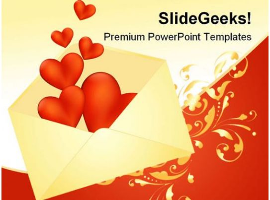Heart Envelope Wedding Powerpoint Template 0610 | Powerpoint