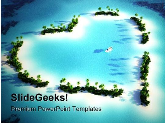 heart shaped island beauty powerpoint templates and