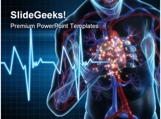 cardiac ppt template - heartattack medical powerpoint template 1110 3d rendered