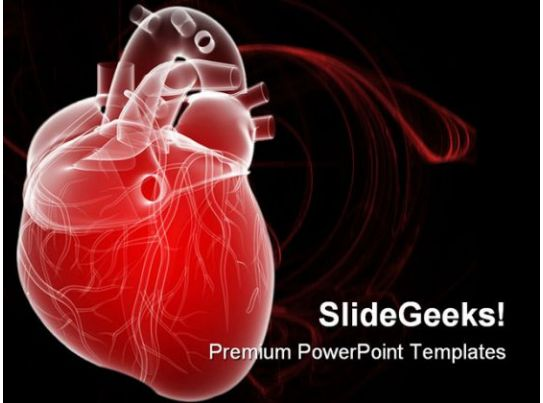 Human heart medical powerpoint template 0610 3d rendered for Cardiac ppt template