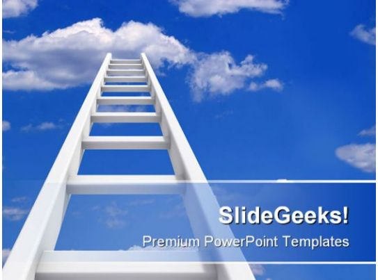 Ladder To Sky Future Powerpoint Background And Template