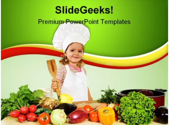 little chef with vegetables food powerpoint templates and