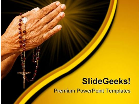 old hands praying religion powerpoint templates and