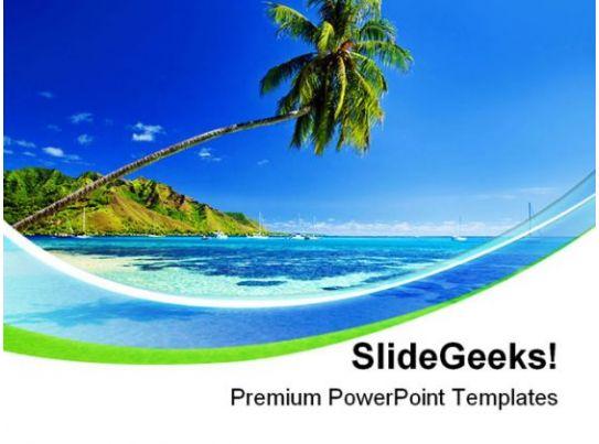 palm tree near beach vacation powerpoint templates and powerpoint, Templates