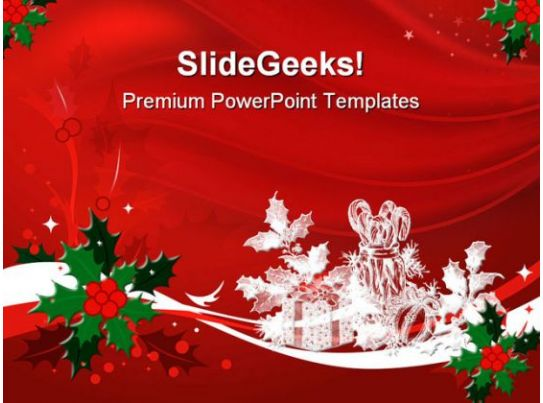 Blue Decorations Christmas PowerPoint Template 0610 – Christmas Powerpoint Template