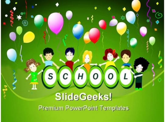 School Party Children Powerpoint Backgrounds And Templates 1210