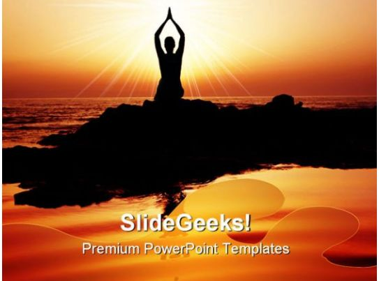 Sunset Yoga Exercise Health Powerpoint Templates And