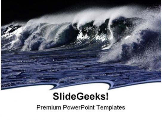 Wild Wave Beach PowerPoint Templates And PowerPoint Backgrounds - Fresh tsunami powerpoint presentation design