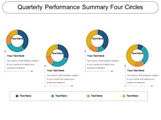 quarterly_performance_summary_four_circles_ppt_sample_Slide01 Quarterly Performance Summary Examples on report sample templates, review form, review format, review template examples, splits quarter date, report format, review sample,
