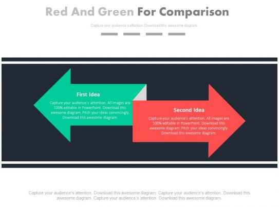 red and green arrow for comparison powerpoint slides