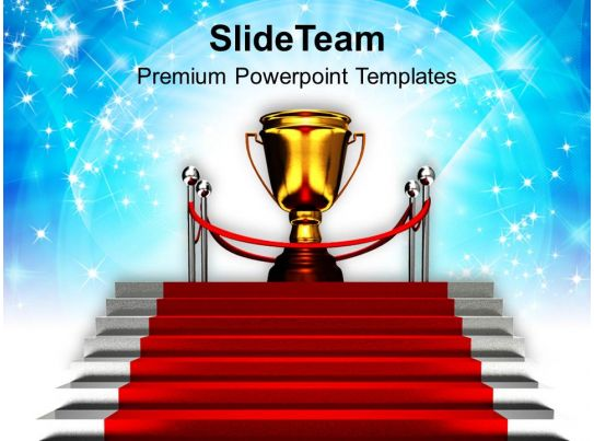 Red Carpet Stairway To Trophy Success Powerpoint Templates