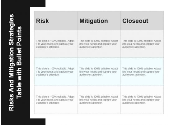 risks and mitigation strategies table with bullet points