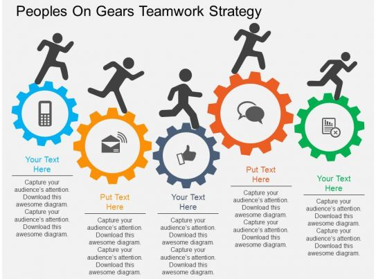 Rm Peoples On Gears Teamwork Strategy Flat Powerpoint