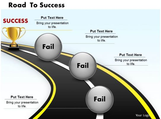 road to success powerpoint template slide