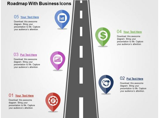 milestone chart templates powerpoint - roadmap with business icons flat powerpoint design