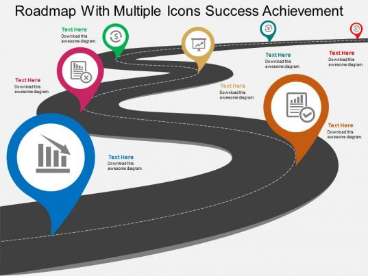 Roadmap With Multiple Icons Success Achievement Flat