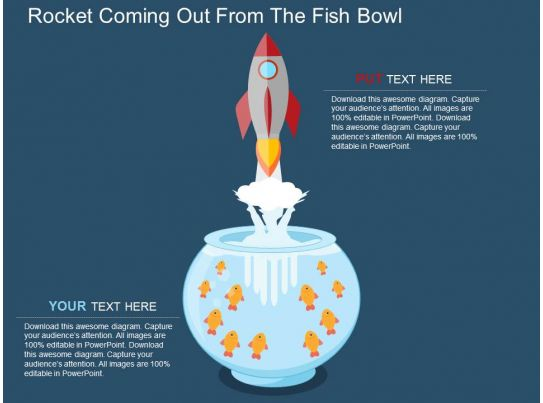 Rocket coming out from the fish bowl flat powerpoint for Fish bowl drinks near me