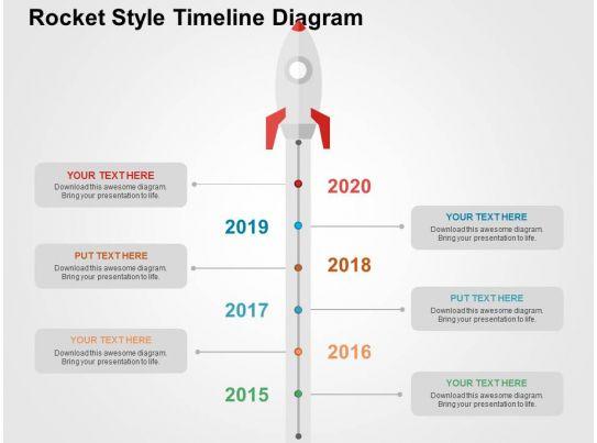 Rocket Style Timeline Diagram Flat Powerpoint Design