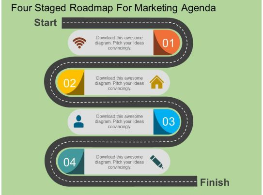 sa four staged roadmap for marketing agenda flat powerpoint design