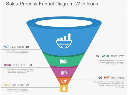 sales process funnel diagram with icons flat powerpoint design. Black Bedroom Furniture Sets. Home Design Ideas