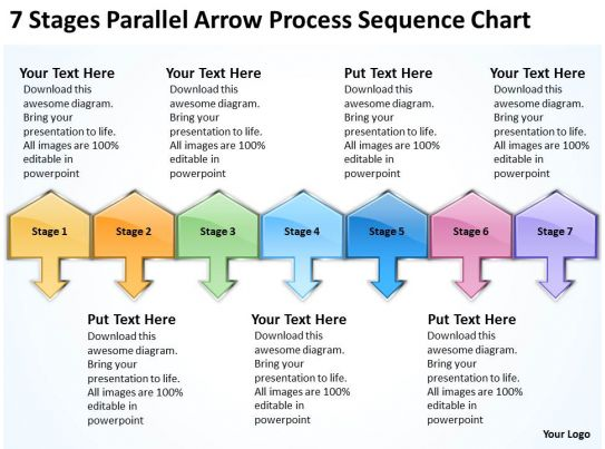 sample business process diagram 7 stages parallel arrow