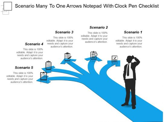 scenario many to one arrows notepad with clock pen