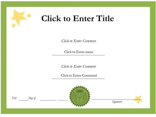 printable word certificate completion templates – Editable Certificate Templates