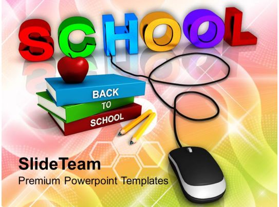 school with computer mouse education concept powerpoint