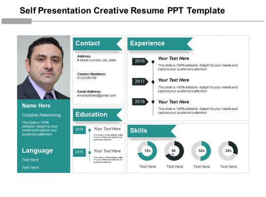 self presentation creative resume ppt template