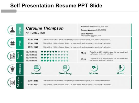 self presentation resume ppt slide