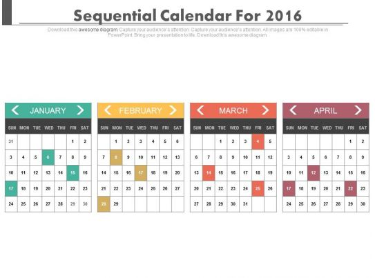 Calendar Art For Powerpoint : Sequential calendars for january february march and april