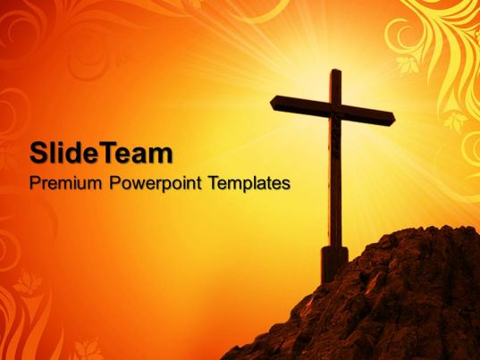 Sermon Ideas Powerpoint Templates Yellow Cross Symbol Process Ppt | Presentation Graphics ...