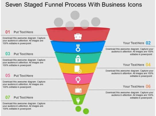 Seven staged funnel process with business icons flat for Business process catalogue template