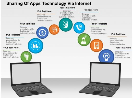 sharing of apps technology via internet flat powerpoint